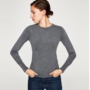 Zara Pearl Cuff Knit sweater